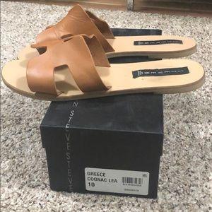 Steven Greece Cognac Leather Slide Sandals